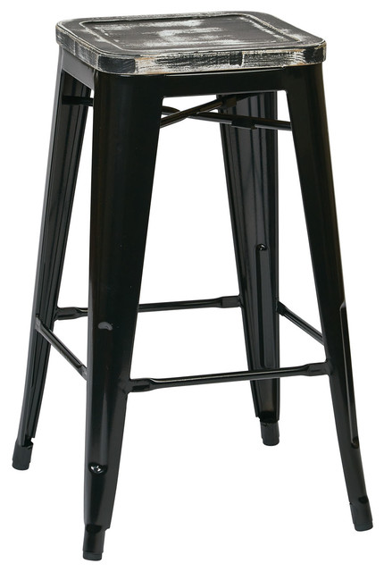 Bristow Antique Bar Stools Vintage Wood Seat Set of 4 Black/Ash  sc 1 st  Houzz : modern bar stools wood - islam-shia.org