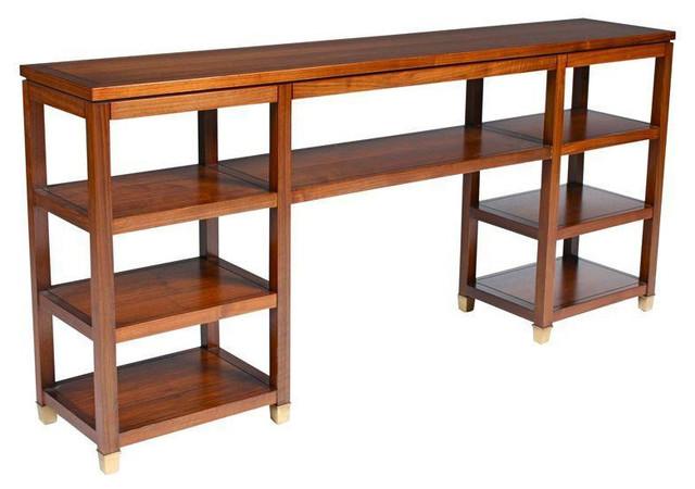 Mid Century Open Wood Console Bookshelf