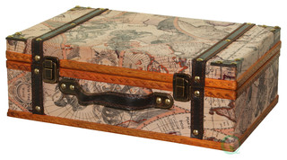Shop Houzz   Decorative Gifts Old World Map Suitcase - Decorative Trunks