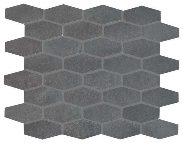 """12""""x12"""" Basalto Honed Elongated Hexagon Modern Mosaic"""