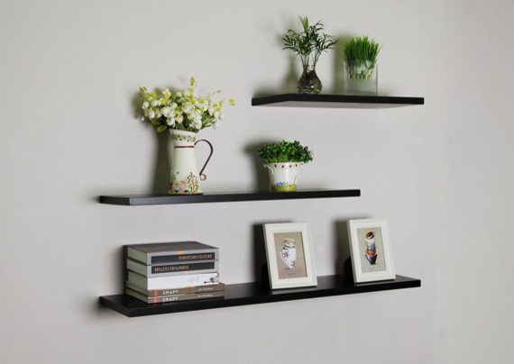 Black Floating Wall Shelves, 3pcs/set