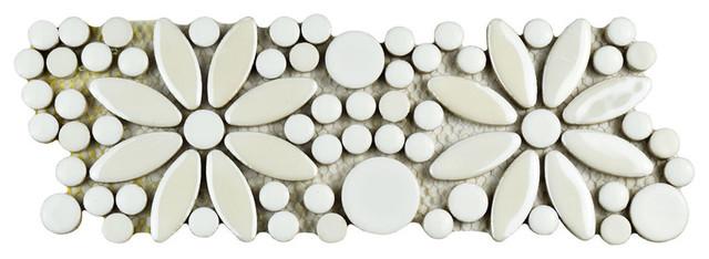 "4.25""x12.75"" andromeda penny flower mosaic border floor/wall tile, Hause deko"