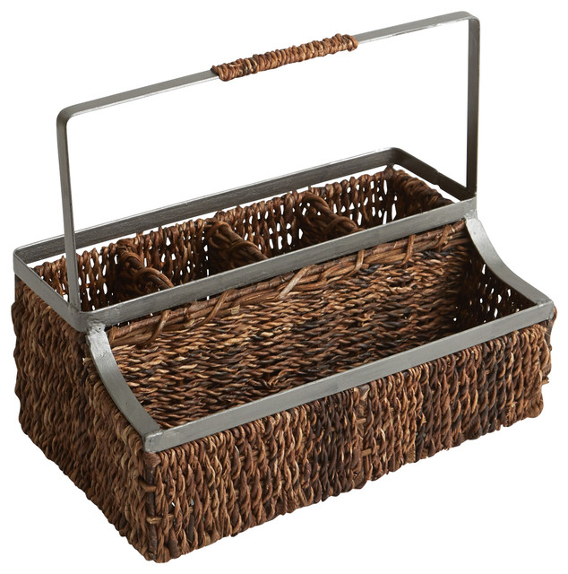 Abaca And Metal Flatware Caddy With Handle.