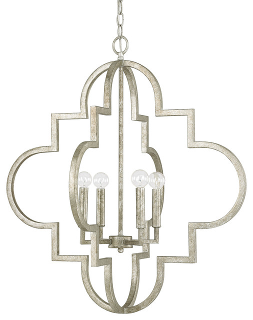 Capital Lighting Ellis Antique Silver Traditional Pendant W/ 4 Light 60w.