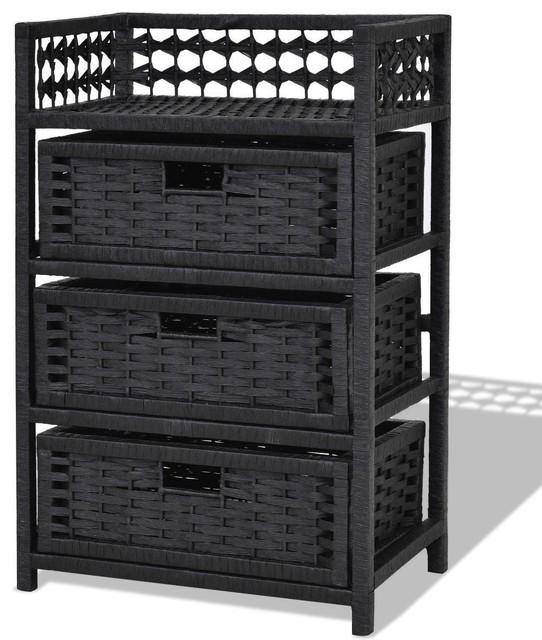 Modern 3 Drawers Wicker Baskets Storage Chest Rack Tropical Bathroom Cabinets By Imtinanz Llc Houzz