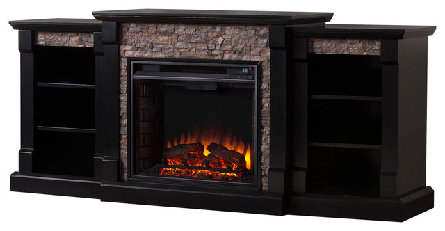 Freidrich Faux Stone Electric Fireplace With Bookcases.