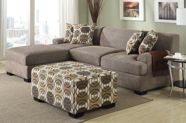 Incroyable Modern Small Slate Linen Sectional Sofa Reversible Chaise Living Room