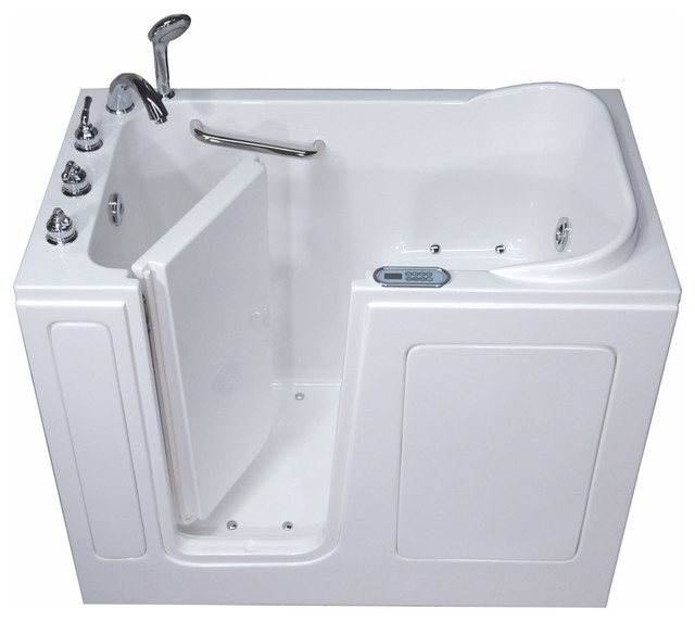 Pearl Series Walk In Tub, White, Left Hand, Dual Air And Whirlpool Therapy
