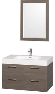 "Wyndham Collection 36"" Amare Espresso Single Sink Vanity With Acrylic-Resin Top - Contemporary ..."