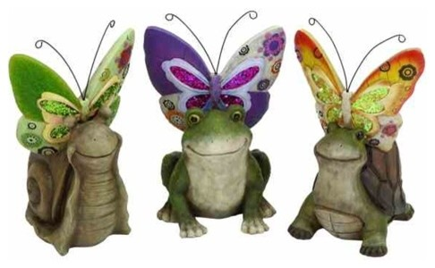 Garden Butterfly Frog Set 69743 Traditional Outdoor Decor by