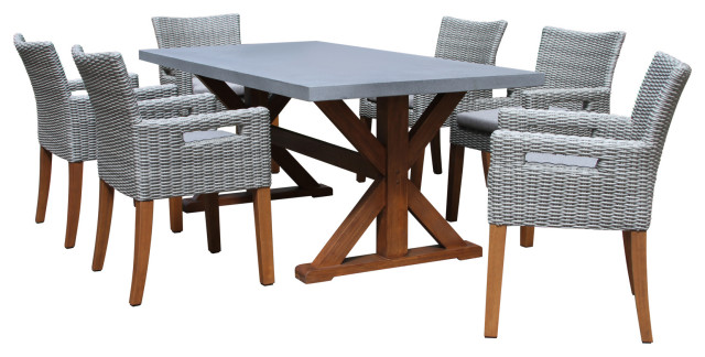 7 Piece Dining Table With Composite, Composite Outdoor Furniture