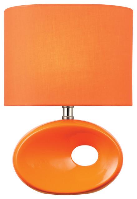 Table Lamp, Orange Ceramic Body/orange Fabric, E27 A 60w.