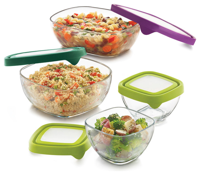 Serve It 4-Piece Medium Multisize Glass Serveware Set With Lids.