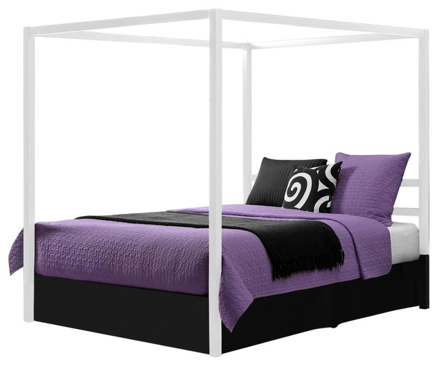 Modern White Metal Canopy Bed, No Box-Springs Required, Queen.