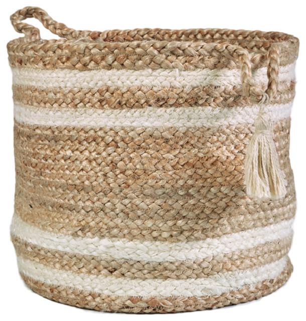 "Montego Striped Natural Jute Decorative Storage Basket, 17"""