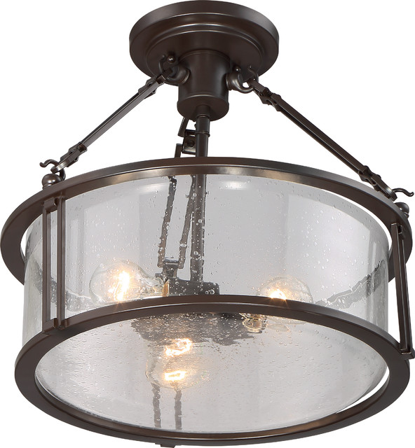 Luxury Industrial Bronze Drum And Link Ceiling Light, Uql2133, Valencia Series.