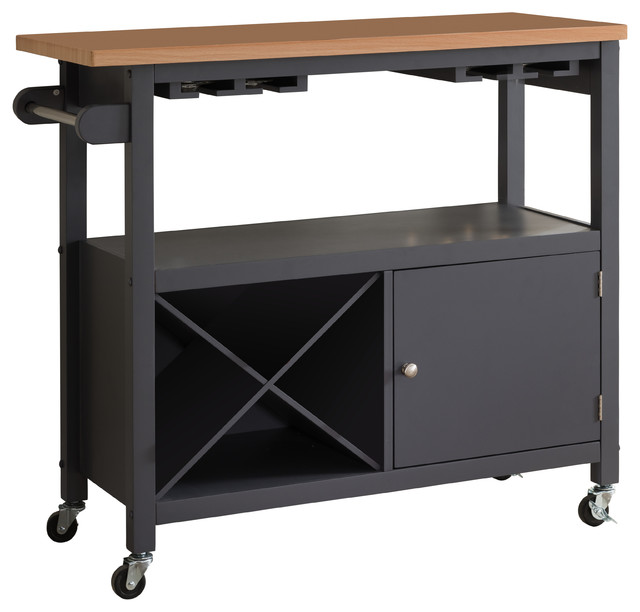 Halpin Kitchen Cart With Wine Rack.