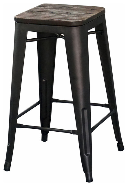 Strange Industrial Style 26 Counter Stool Gunmetal Set Of 4 Unemploymentrelief Wooden Chair Designs For Living Room Unemploymentrelieforg