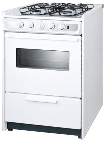 24 Wide Slide-In Gas Range, White With Sealed Burners.