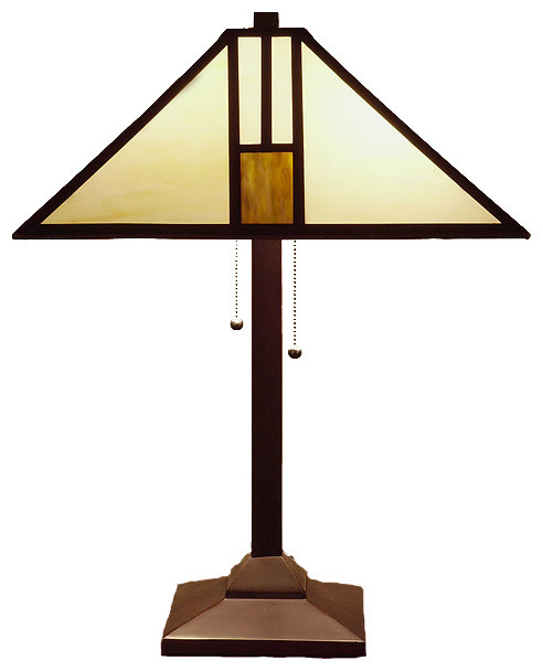 Tiffany Style White Mission Style Table Lamp Craftsman Table
