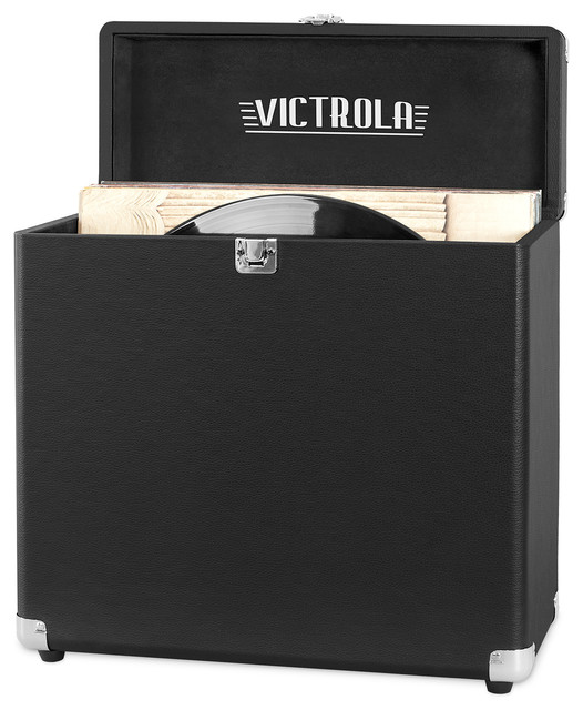 Storage Case For Vinyl Turntable Records, Black by Victrola