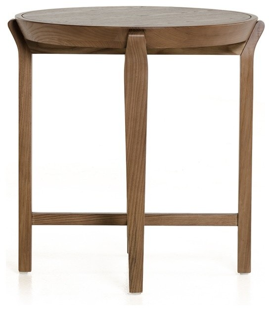 Modrest Olenna Modern Walnut Side Table.
