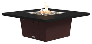 Square Fire Pit Table, 56x56, Natural Gas, Black Powdercoat Top, Dark Cherry