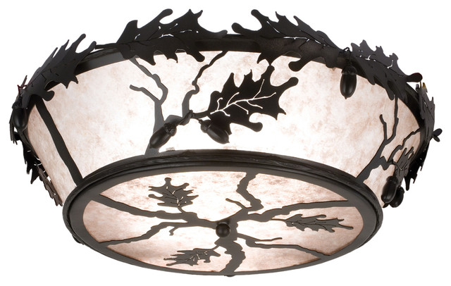 "Meyda 23.5"" Oak Leaf And Acorn Flushmount."