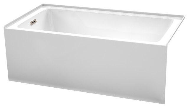 "60"" Alcove Bathtub White, Left-Hand Drain, Overflow Trim in Brushed Nickel"