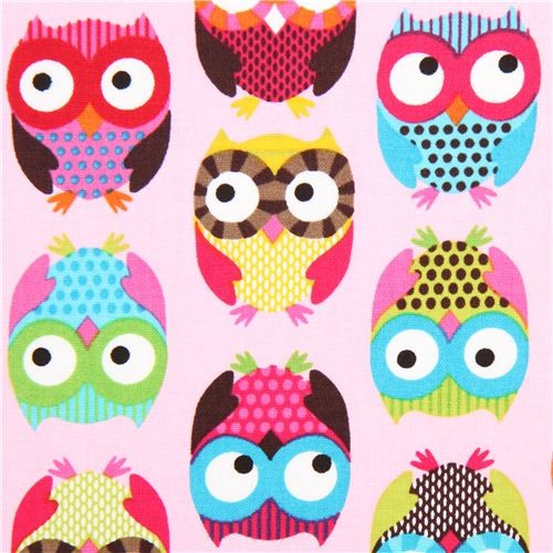 pale pink owl fabric Timeless Treasures colourful owls