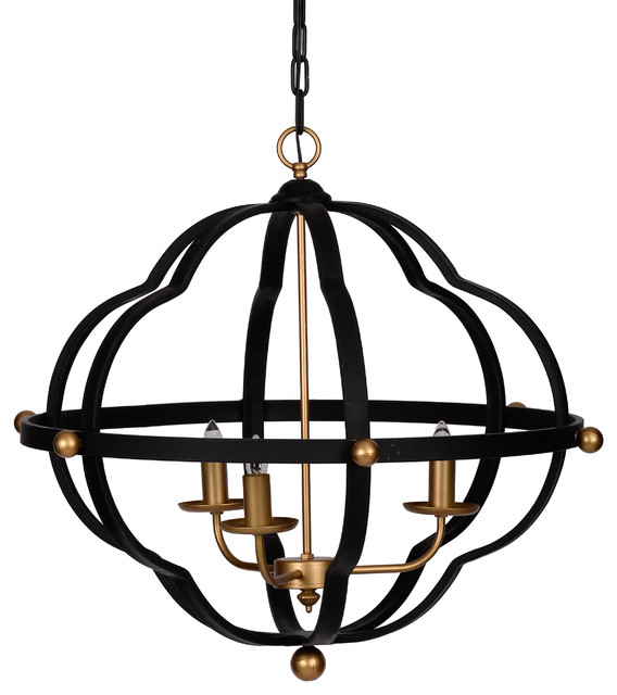 """Modern Chic Black and Gold Chandelier, 24.5""""x24"""""""