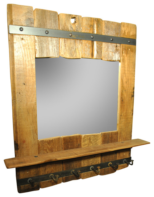 Wall Mirror With Hooks reclaimed wood mirror with shelf and 6 hooks - rustic - wall