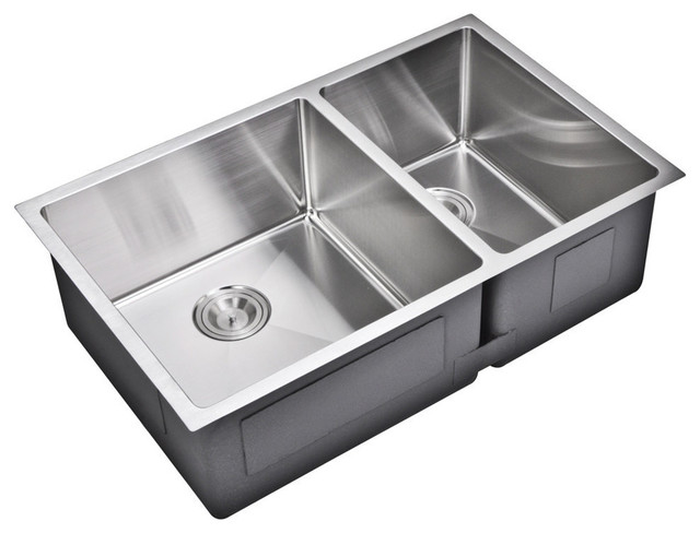 """Water Creation - 33"""" X 20"""" 60/40 Double Bowl Topmount Stainless Steel Kitchen Sink & Reviews"""