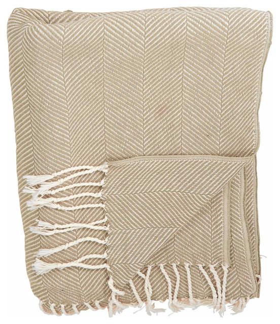 Mina Victory Throw Organic Cotton Beige Blanket