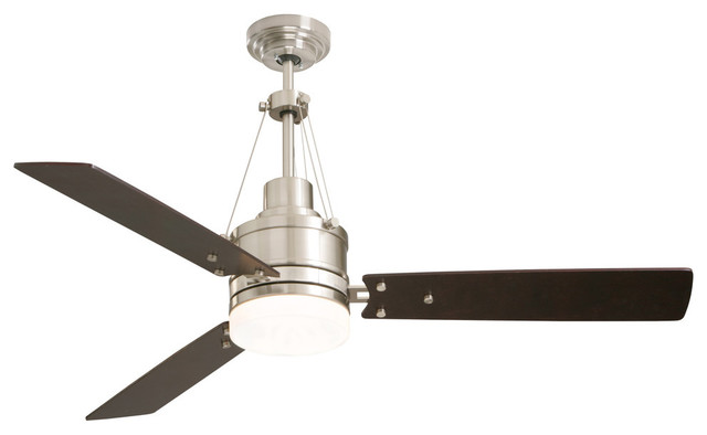 "Highpointe 54"" Fan, Brushed Steel, Dark Mahogany Blades, Opal Matte Glass, Steel."