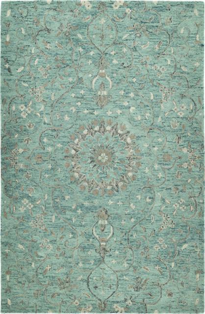Johona Hand-Tufted Rug, Turquoise, 8&x27;x10&x27;.