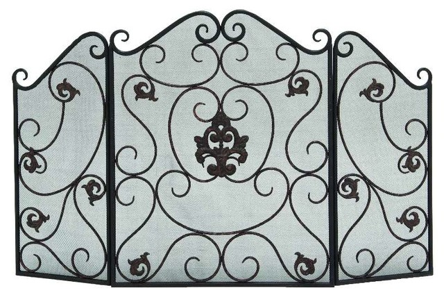 fireplace screen made scroll detail protective safety mesh home decor traditional fireplace screens - Home Decor Screens