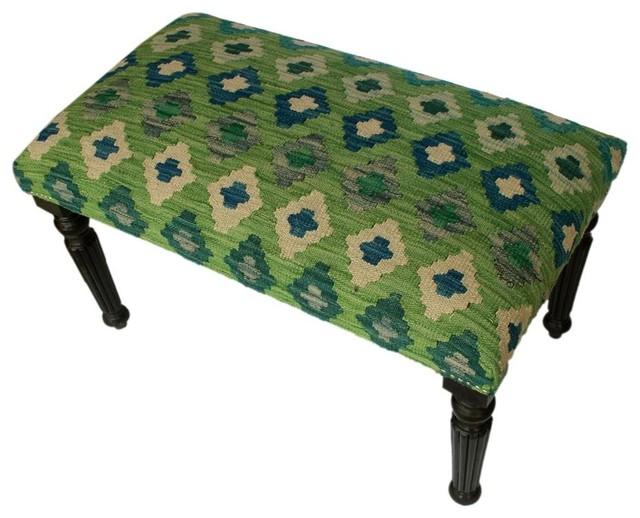 "Dorcas Green/blue Handmade Kilim Upholstered Settee, 32""x18""x19""."