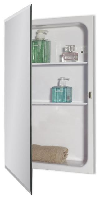 "Recessed Deep Drawn Beveled Edge Mirror Medicine Cabinet 16""x26"""
