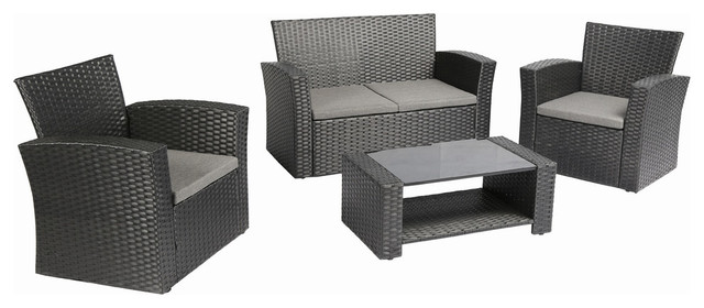 761dfe5b8d7 Baner Garden 4-Piece Outdoor Wicker Patio Set With Cushions ...