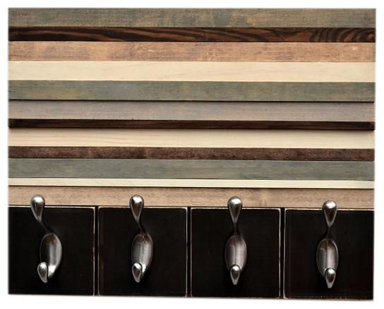 Distressed Wood Wall 4 Hook Coat Rack