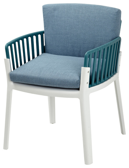 Sunny Teal And White Two-Tone Chair With Removable Blue Cushions, Set Of 2.
