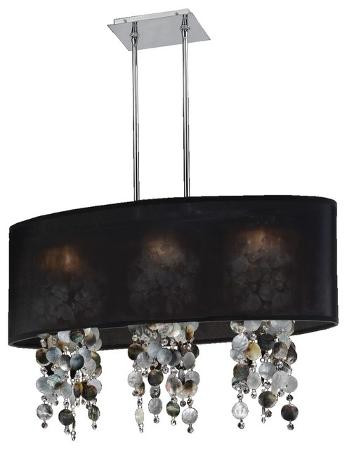 """33 """"W Oval Shaded Mother of Pearl Shell and Crystal Chandelier   Soho 626P, Blac"""