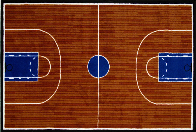 Basketball Court Rug, Multi-Color, 19x29.