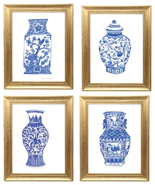 "Chinoiserie Art Print, Set Of 4, 8""x11"". -1"