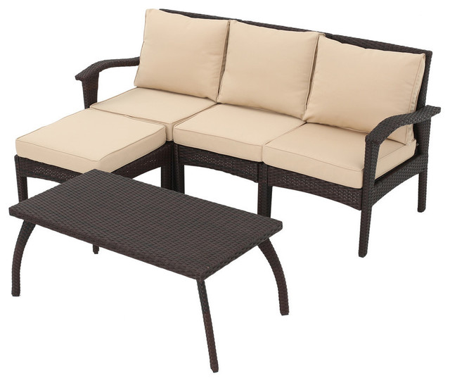 maui outdoor l shaped 5 piece wicker sofa set brown and tan tropical