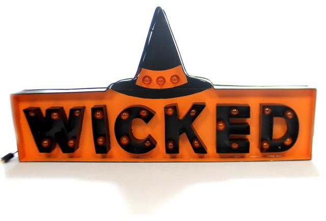Halloween Wicked Marquee Sign Metal Electrical Plug In Witch Lc6331.