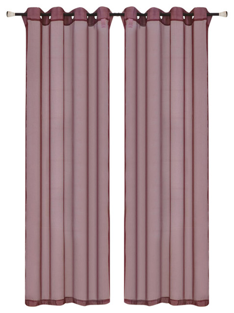 "Kashi Home Leah Sheer Grommet Top Curtain Panel, Burgundy, 55""x84""."