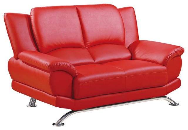 Global Furniture Bonded Leather Loveseat, Red With Chrome Legs