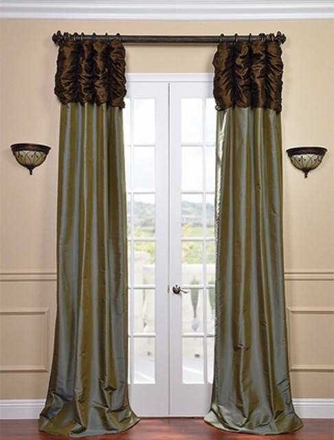 Attractive Ruched Thai Curtain   Chocolate Brown Header U0026 Sea Blue Panel Traditional  Curtains